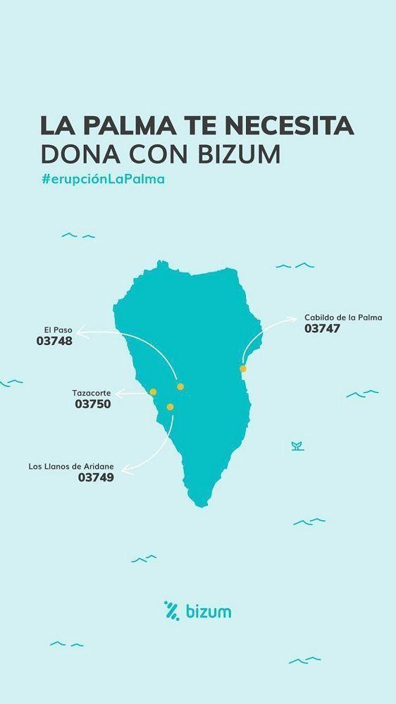 Mapa de La Palma con los códigos oficiales de los ayuntamientos más afectados para hacer tus donaciones con Bizum